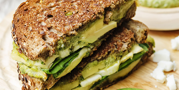 Avocado, Feta and Spinach Sandwich