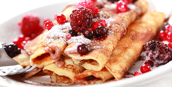 Sautéed Fruit Pancakes with Whipped Cinnamon Butter